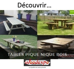 table pique nique- mobilier de jardin- woodexpo 78